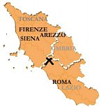 Lake Bolsena location with respect to Rome, Florence and other sites of interest. The sea is less than 30mins drive away. The Lake is 5 minutes from the accommodation