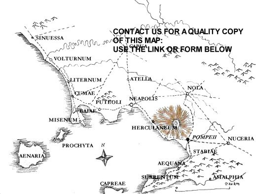 A map of Pompeii and Mount