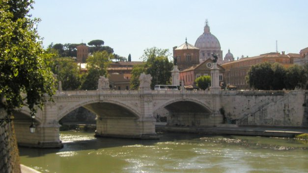 View up the Tiber river towards the Vatican