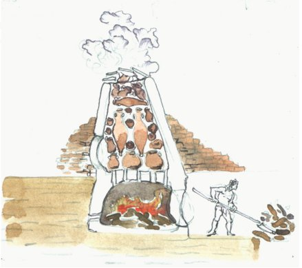 Section image of a Roman pottery kiln