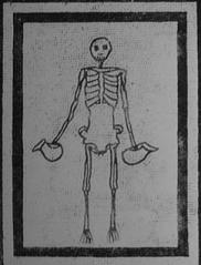 Roman black and white mosaic of a skeleton